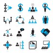 Stock Vector: Set of 16 management and human resources icons