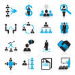 Set of 16 management and human resources icons - Image vectorielle