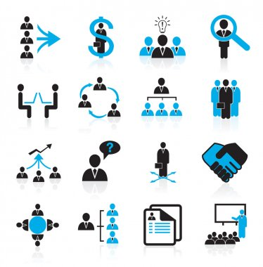 Set of 16 management and human resources icons