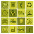 Stock Vector: Set of 16 green icons