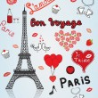 Stock Vector: Paris, love, romance
