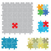 Set of various puzzles — Stock Vector