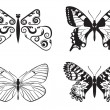 Stock Vector: Set of monochrome butterflies