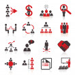 Set of 16 human resources icons. — Stock Vector