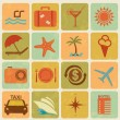 Stock Vector: Set of 16 tourism and travel icons