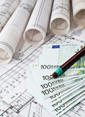 Architectural project and euro money — Stock Photo
