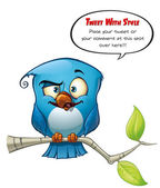 Tweeter Blue Bird Smarty — Stock Photo