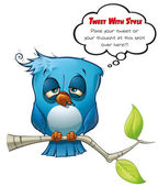Tweeter Blue Bird Hangover — Stock Photo