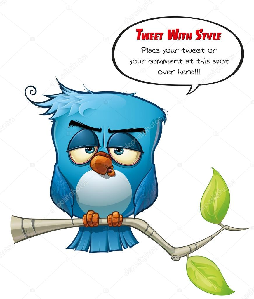 A blue bird avatar tweets with style your comments or opinions to the world!  Stock Photo #13737653