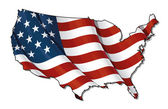 US Flag-Map Flat. Clipping Path — Stock Photo