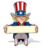 Uncle Sam Holding a Sign — Stock Photo