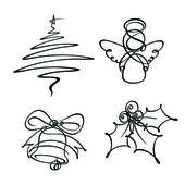 Four Christmas Single Line Icons — Stock Vector