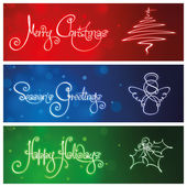 Three Christmas Banners — Stock Vector