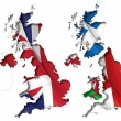 UK Flag-Map Inner Shadow — Stock Vector