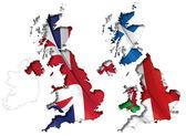 UK Flag-Map Inner Shadow — Stock Vector