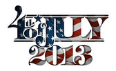 Forth of July 2013 Lettering Cut-Out — Stock Vector
