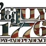 του Ιουλίου 1776 ημέρα της ανεξαρτησίας κομμένα-out — Διανυσματικό Αρχείο