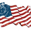 US Civil War Union -37 Star Medallion- Scratched Flag — Stock Photo