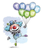 Clown with Balloons Saying Thank You - Boy Colors — Stock Vector