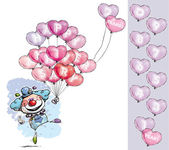 Clown avec des ballons cœur disant joyeux anniversaire - couleur garçon — Vecteur
