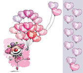 Clown with Heart Balloons Saying Happy Anniversary - Girl Colors — Stock Vector