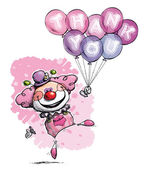 Clown med ballonger säga tack - tjej färger — Stockvektor