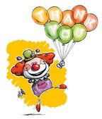 Clown avec des ballons de dire merci — Vecteur