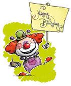 Clown Holding a Happy Birthday Placard — Stock Vector