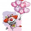 Clown with Heart Balloons Saying I Love You — Imagens vectoriais em stock