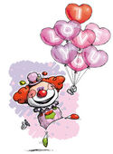 Clown with Heart Balloons Saying I Love You — Stock Vector