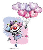 Clown with Heart Balloons Saying Thank You — Stock Vector