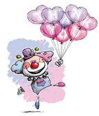 Pajac z sercem balony mówi dziękuję — Wektor stockowy