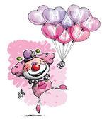 Clown med hjärtat ballonger säga tack - tjej färger — Stockvektor