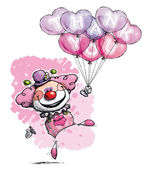 Clown with Heart Balloons Saying Thank You - Girl Colors — Wektor stockowy