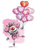 Clown med hjärtat ballonger säger jag älskar dig - tjej färger — Stockvektor
