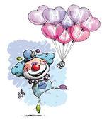 Clown avec des ballons coeur dire merci - couleurs garçon — Vecteur