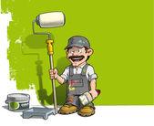 Handyman - Wall Painter Gray Uniform — Stock Vector