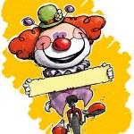 клоун на одноколесном велосипеде, держа метку — Cтоковый вектор #37709049