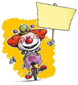 Clown on Unicycle Holding Placard — Stock Vector