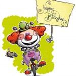 клоун на одноколесном велосипеде, держа плакат с днем рождения — Cтоковый вектор #37713295