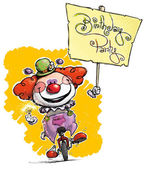 Clown on Unicycle Holding a Birthday Party Placard — Stock Vector