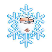 SnowFlake Emoticon - Smooch — Stock Vector