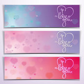 Three I Love You Banners - Purple Pink — Stock Vector