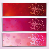 Three Valentine 2014 Banners - Red Pink — Stock Vector