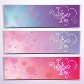 Three Valentine Banners - Purple Pink — Stock Vector