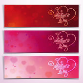 Three Valentine Banners - Red Pink — Stock Vector