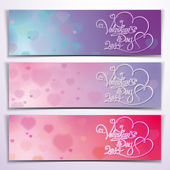 Three Valentine 2014 Banners - Purple Pink — Stock Vector