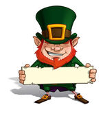 St. Patrick Holding a Label — Stock Vector