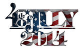 Forth of July 2014 Lettering Cut-Out — Stock Vector