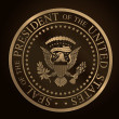 US Golden Presidential Seal Emboss — Cтоковый вектор